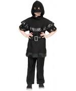 déguisement de bourreau d'halloween pour enfant, tunique noire, cape à capuche et ceinture