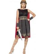 Déguisement de guerrière romaine pour femme, tunique avec cape et bandeau