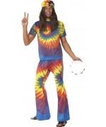 Déguisement hippie homme multicolore avec haut et pantalon