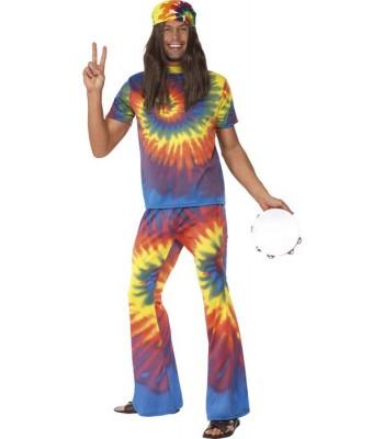 Déguisement hippie homme multicolore