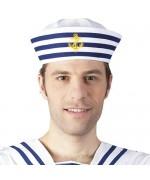 Calot de marin adulte, blanc et bleu - chapeau de marin