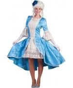 Déguisement marquise bleue rococo pour adulte, longue robe de marquise avec dentelle
