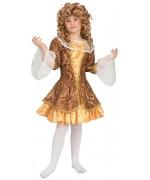 Déguisement de marquise pour fille et adolescente, robe de marquise or et bronze