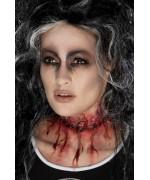Prothèse gorge tranchée en latex pour un maquillage gore ultra réaliste - maquillage halloween
