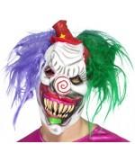 Optez pour un masque qui fait peur grâce à ce masque de clown tueur en latex avec cheveux