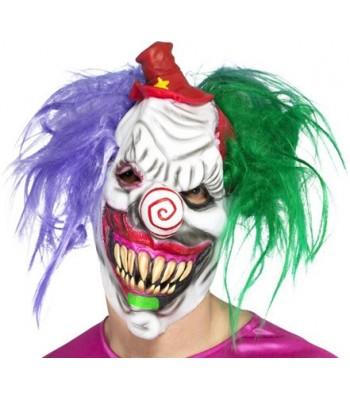 Masque clown tueur halloween avec cheveux