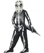 Déguisement squelette de dinosaure pour enfant de 4 à 12 ans avec masque