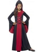 Déguisement de sorcière gothique pour fille de 4 à 12 ans, longue robe à capuche