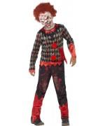 déguisement de clown zombie pour enfant de 4 à 12 ans, masque de clown inclus