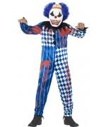 Idéal pour Halloween, ce déguisement clown qui fait peur s'accompagne d'un masque avec cheveux et cervelle
