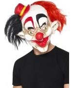 Masque de clown psychopathe avec chapeau, idéal pour accessoiriser un déguisement de clown d'halloween