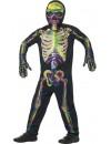 Déguisement de squelette fluorescent enfant, sa combinaison s'illumine dans le noir