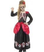 Déguisement de mexicaine day of the dead pour fille de 4 à 12 ans, robe et bandeau