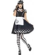 Déguisement Alice gothique, ce costume comprend la robe, le tablier et le bandeau