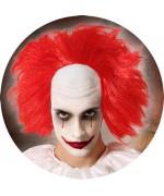 Perruque de clown au cheveux rouge avec crane en latex