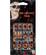 Set de faux ongles noir et orange avec motifs sorcière, citrouille, araignée