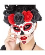 Masque mexicain pour femme décoré de roses rouges et noires