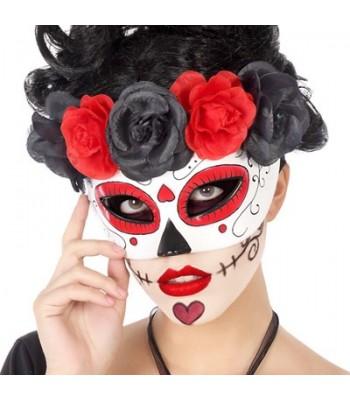 Masque mexicain rouge et noir femme