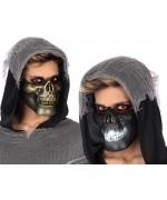 Demi-masque de squelette proposé en deux coloris assortis (à l'unité)