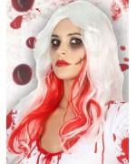 Perruque blanche avec du sang idéale pour vos déguisement d'infirmière ou de mariée d'halloween
