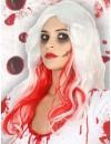 Perruque blanche ensanglantée halloween
