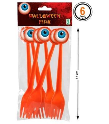 6 fourchettes oeil halloween