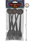 "Sachet de 6 fourchettes noires, halloween mexicain ""Day of the dead"""