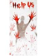 "Rideau ""Help Us"" 152 x 76 cm - décoration halloween"