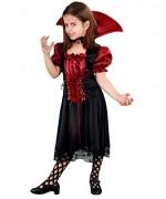 Déguisement de vampire pour fille de 7-9 ans avec robe de vampire et col assorti