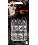Set de faux ongles halloween noirs et blancs, motifs RIP, squelette et fantôme