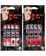 Set de faux ongles halloween idéal pour accessoiriser un déguisement de vampire pour femme