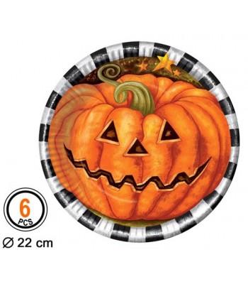 6 assiettes citrouille halloween grand format