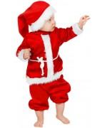 deguisement de père noël pour bébé de 1 an à 3 ans avec pantalon, manteau, ceinture et bonnet