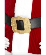 Ceinture de Père Noël, ceinture noire avec une grosse boucle dorée