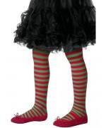 Collants à rayures pour enfant couleur rouge et vert, pour filles de 6 à 12 ans