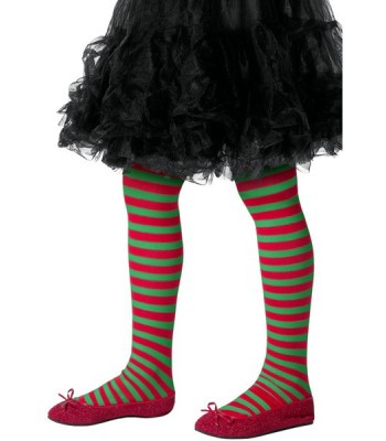 Collants rouge et vert à rayures enfant - la magie du déguisement ... b86cd886d54