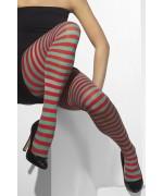 Collants rouge et vert à rayures pour femme, taille unique