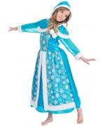 Déguisement reine des glaces pour fille de 3 ans à 12 ans, longue robe bleue avec cape et capuche décorée de fourrure blanche