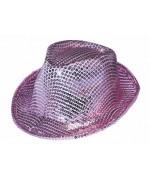 Chapeau borsalino rose à sequins