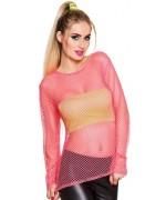T-shirt rose fluo en résille, un accessoire indispensable pour vos soirées années 80