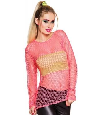 T-shirt rose fluo en résille