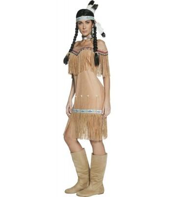 Déguisement indienne beige western