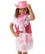 Déguisement de cowgirl rose pour fille de 3 à 6 ans avec foulard et chapeau