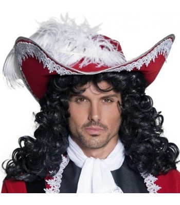 Chapeau de pirate rouge avec plume