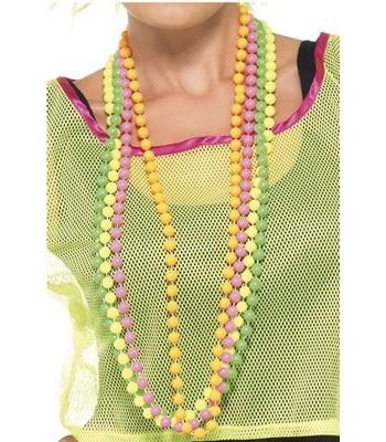 4 colliers de perles fluo