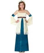 déguisement de dame médiévale bleue pour fille de 3 à 12 ans, robe médiévale et couronne