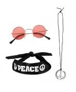 Kit déguisement hippie années 70, collier, lunettes et bandeau peace