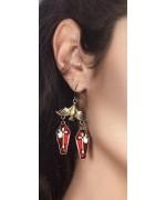 boucles d'oreilles chauve-souris avec cercueils, accessoirisez tous vos déguisements de vampire