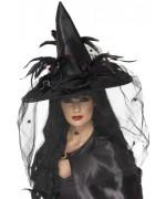 Chapeau de sorcière luxe noir avec araignées