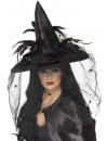 Chapeau de sorcière luxe avec araignées